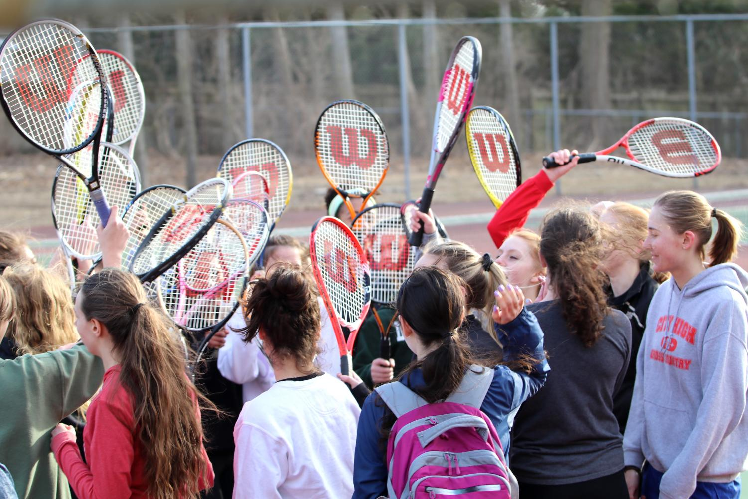Womens tennis breaks it down after a successful first day of practice