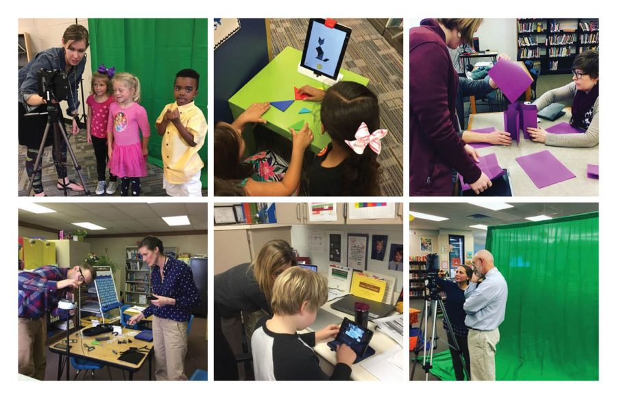 Students and teachers work with the IDS Team (via @iccsdinnovation).
