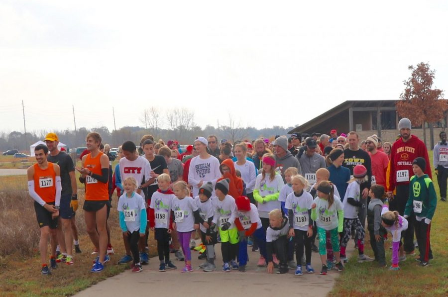 Runners prepare for the race to start.