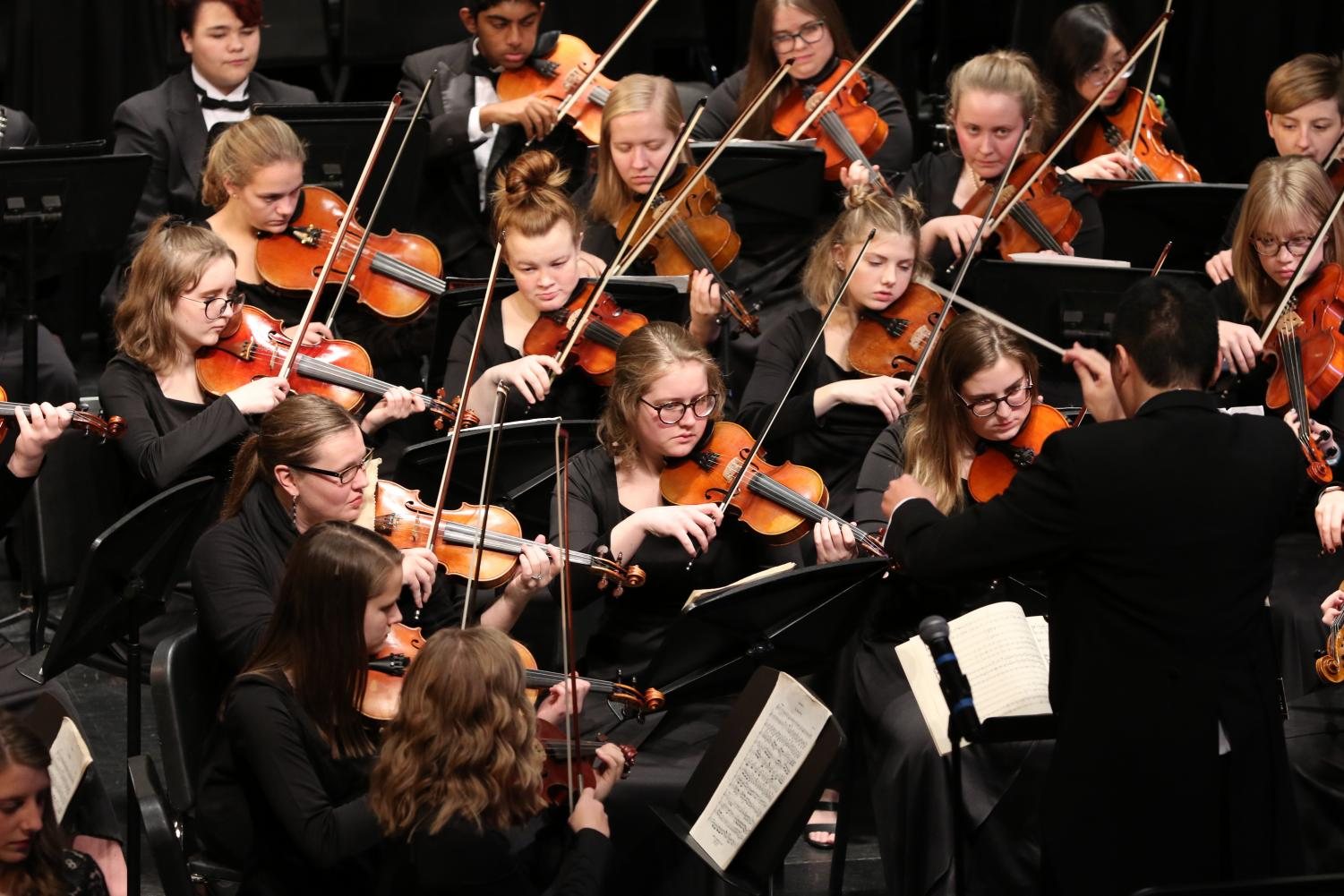 While choir students have been working with the music for months, the orchestra and band students had only been preparing for two weeks