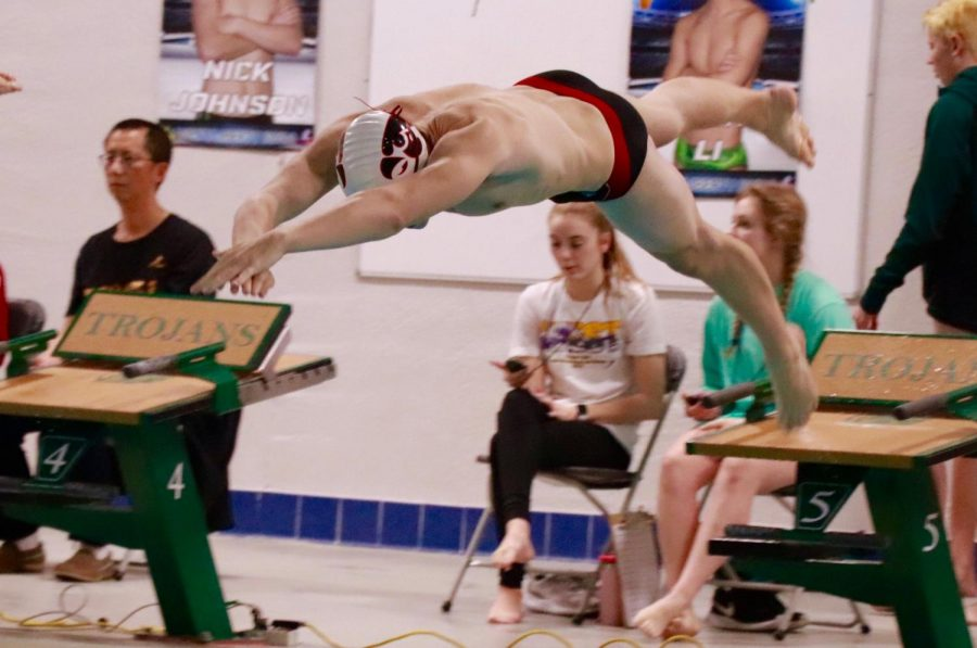 Brennan+Hill+%2719+dives+into+the+100+freestyle+with+a+time+of+53.37+at+the+City+v.+West+meet.