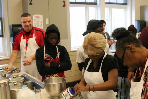 For MLK day sessions students in foods cook Mexican Chorizo Tacos, Chinese Dumplings, and Peach Cobbler with Ice Cream.