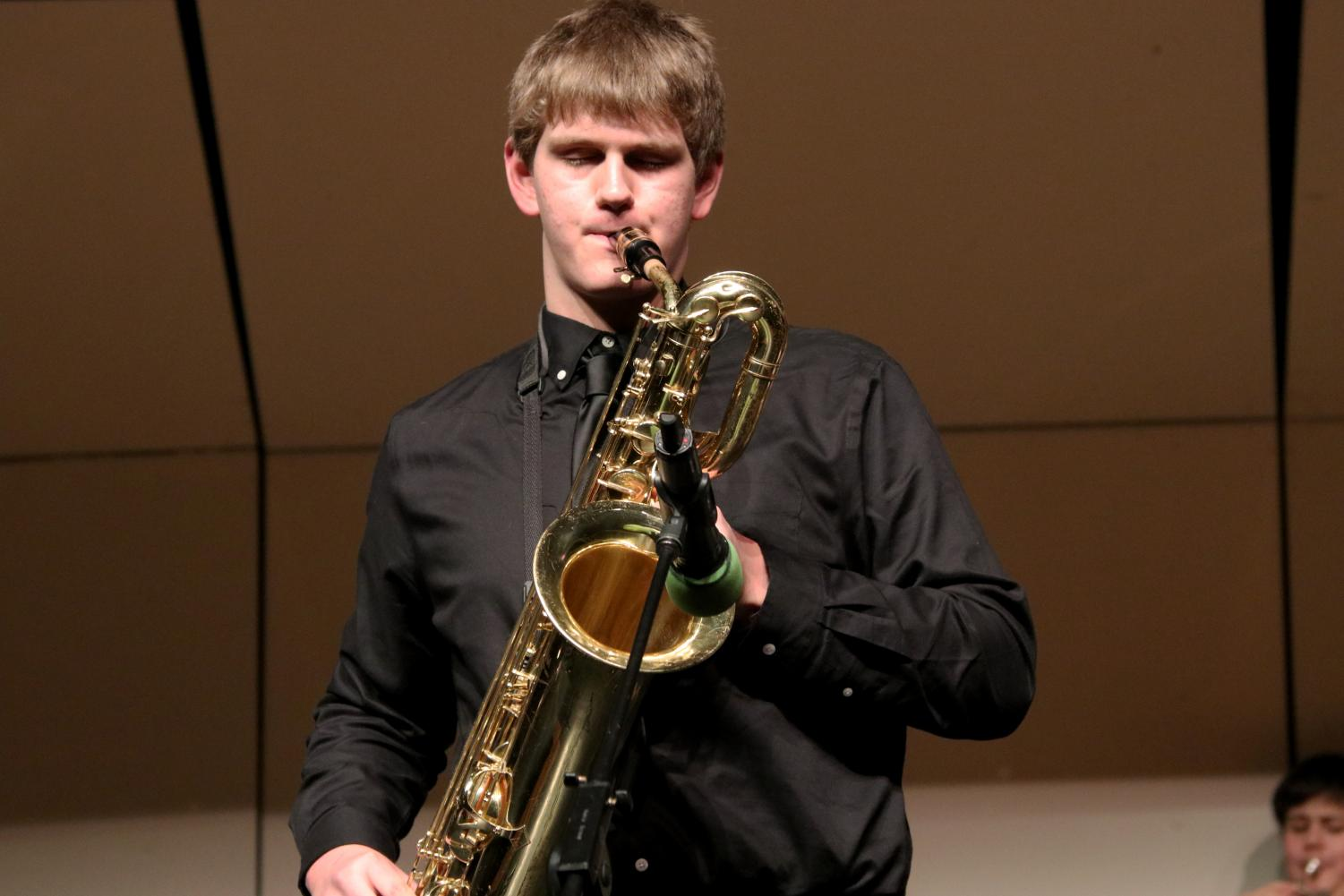 Avery+Goodrich+plays+the+bari+Saxophone+in+a+solo+during+the+first+piece.