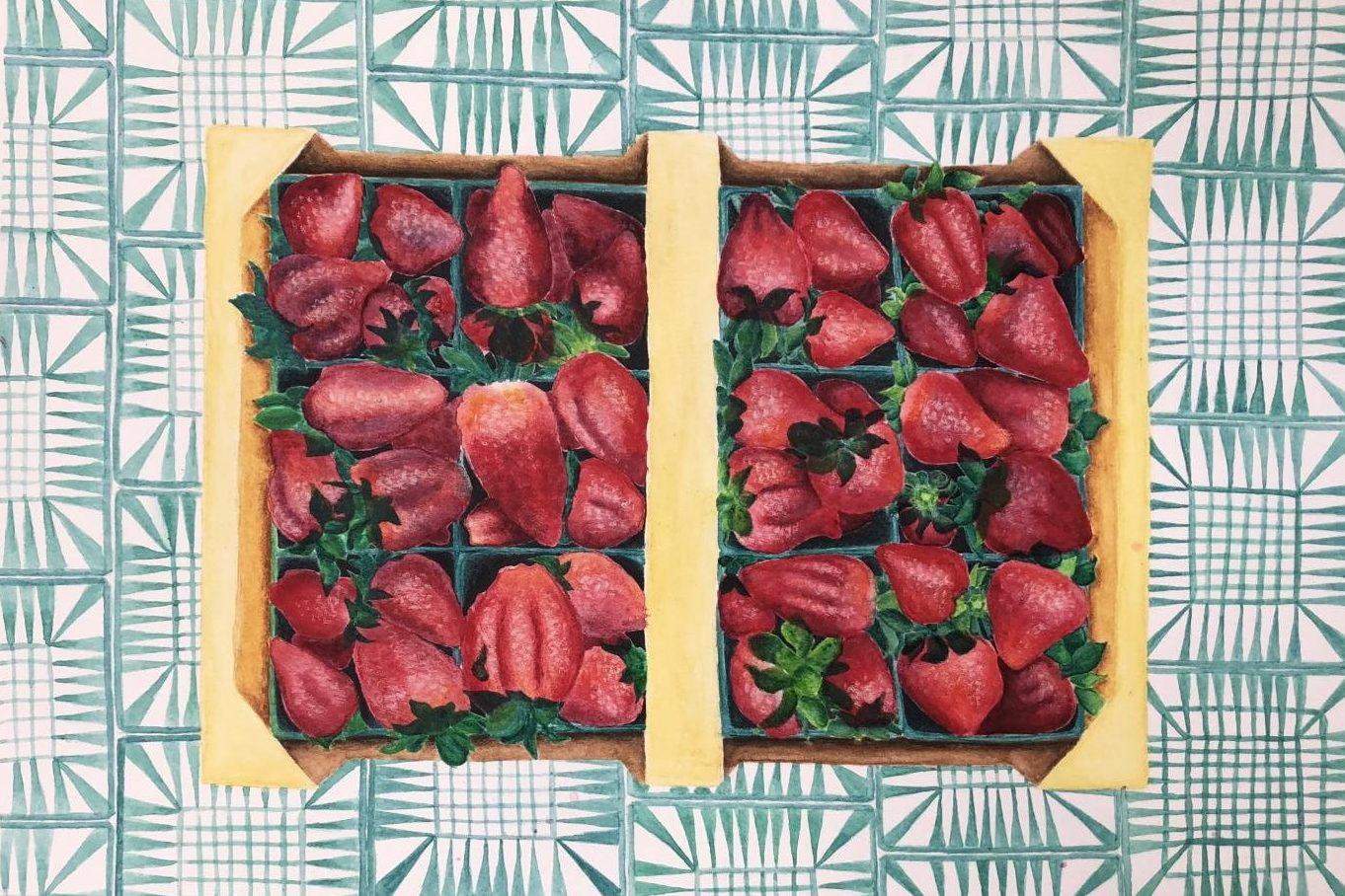 This painting of strawberries is part of Bella Epstein '19's AP Studio Art portfolio
