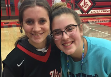 Claire Edwards '19 and Beatrice Kearns '19 at the 2018 Best Buddies basketball game.