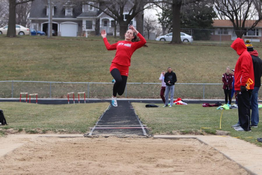 Ella+Cook+%2721+jumped+14-4.5+in+the+varsity+long+jump+competition.+
