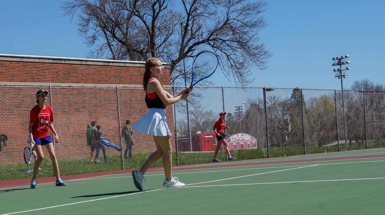 Sonja Liebig '21 Evelyn Wolfe '21 Playing against Cedar Rapids Kennedy.
