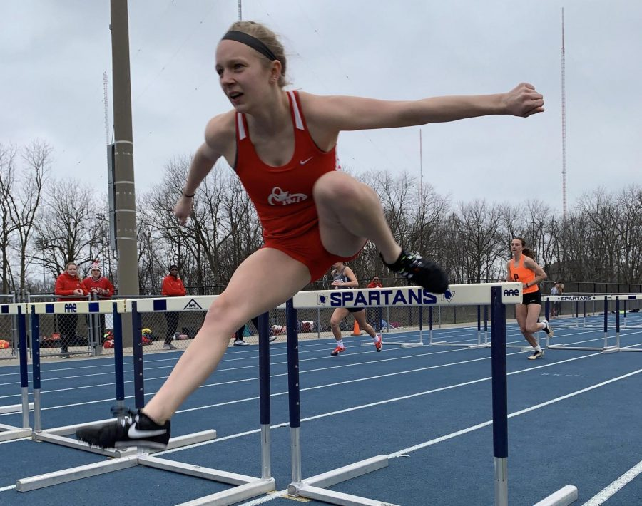 Jordan Sekafetz '21 racing the 100 meter hurdles on April 5, 2019 during her sophomore track season.