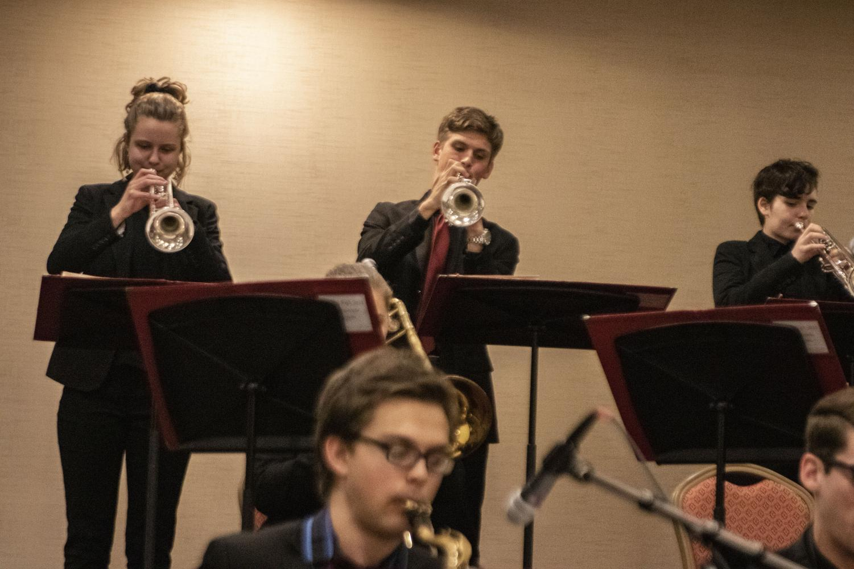 Josh+Fletcher+%2719+and+Grace+Parrott+%2720+playing+trumpet