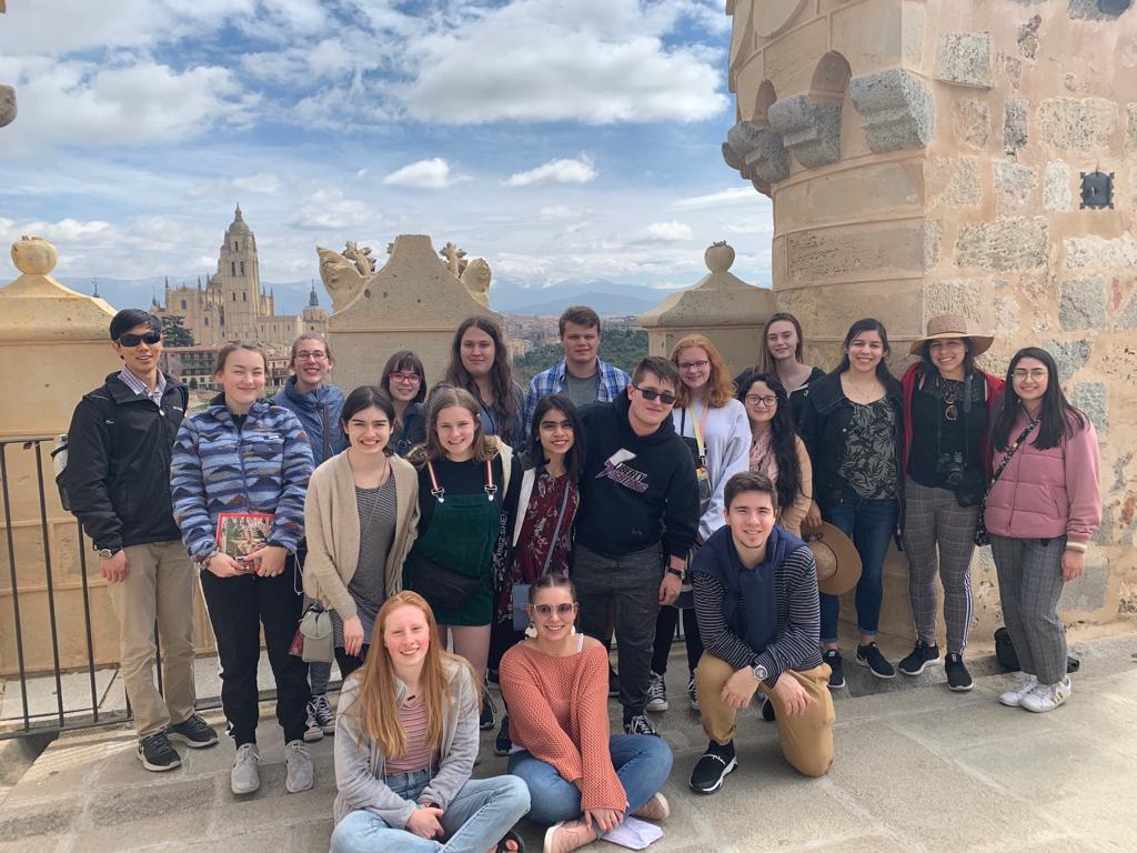 Students on the Spain trip at Alcazar de Segovia