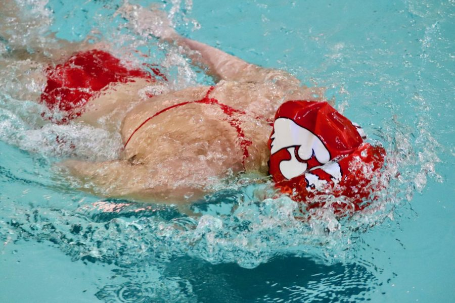 Olivia Masterson '20 swimming the 200 Individual Medley.