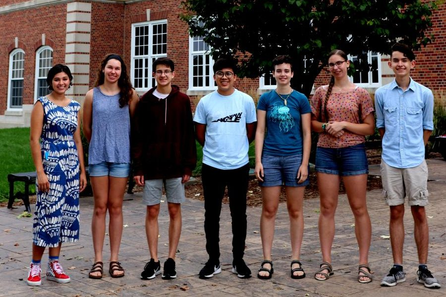 Class of 2020 National Merit Scholar Semifinalists. Left: Mira Bohannan Kumar, Carly Weigel, Ellis Chen, Alexis Nunez, Maryam Abuissa,  Aubryn Kaine, and Joseph Bennett