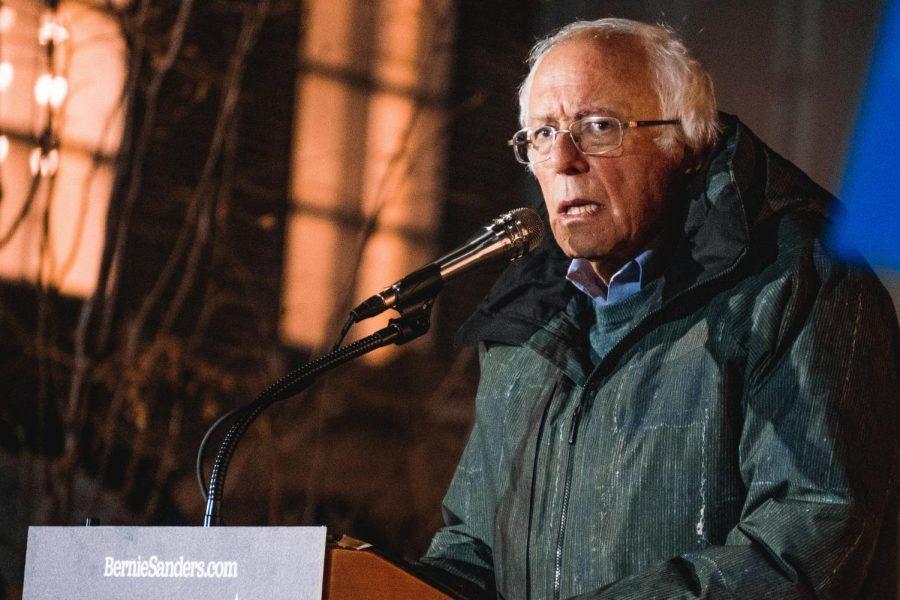 Presidential candidate Bernie Sanders speaking in Iowa City on Friday, October 25, 2019.