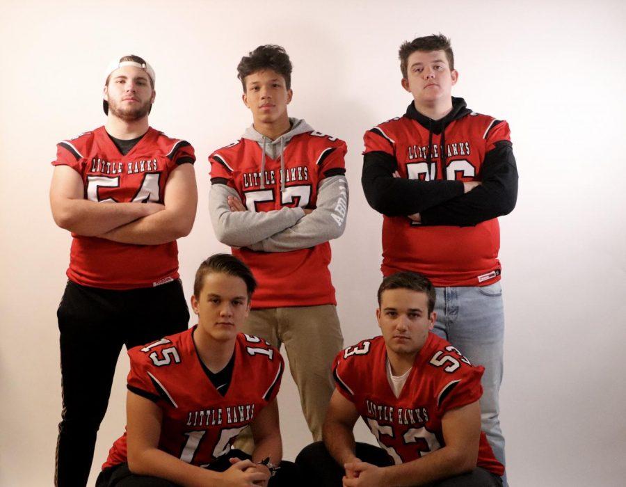 Drew+Owen%2C+Mohammad+Abdallah%2C+Josh+Poe%2C+Josh+Honson%2C+and+Kolbe+Schnoebelen+include+some+of+the+seniors+for+the+Little+Hawks