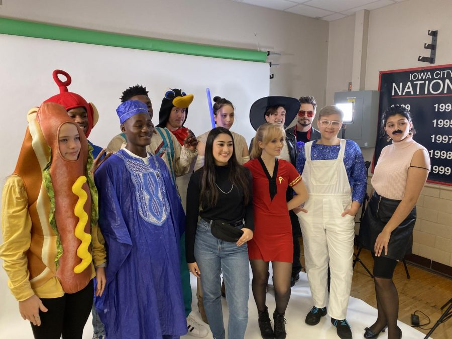 City High students pose for photo in their Halloween costumes.