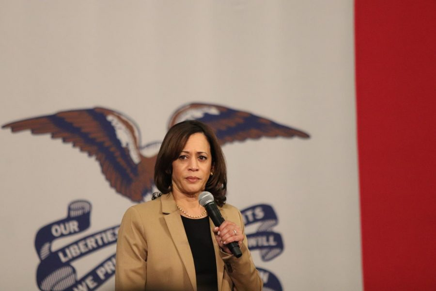 Senator Kamala Harris speaking at Carver-Hawkeye Arena.