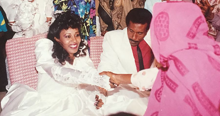 Feda Elbadri '21's parents at their wedding. A few years later, they would flee their home country of Sudan after persecution from the Sudanese government.