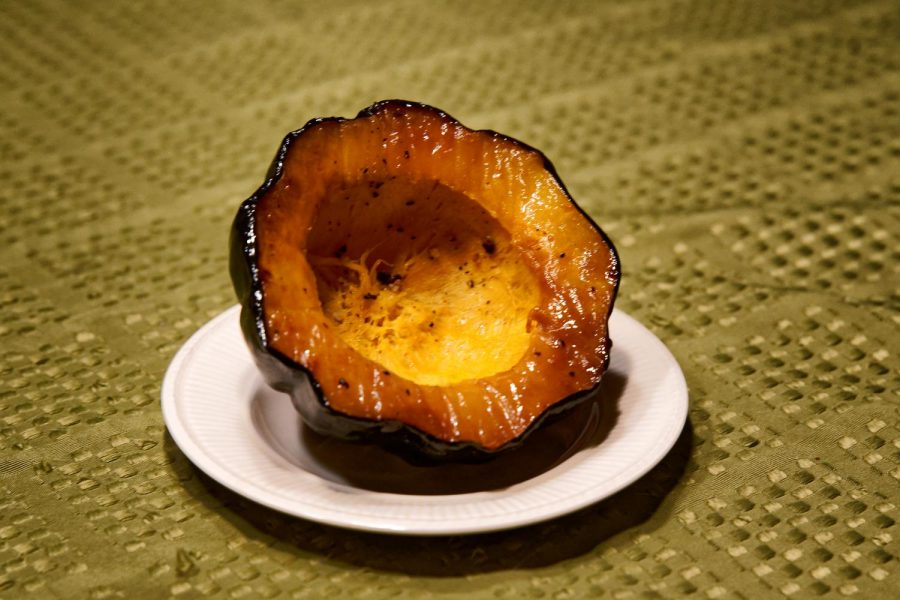 A savory acorn squash prepared with olive oil, salt and pepper. Made by Jesse Hausknecht-Brown
