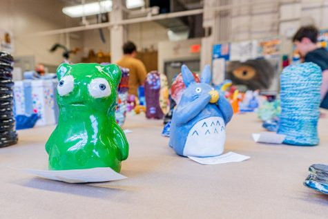 Examples of ceramic creatures at the City High Art Show.