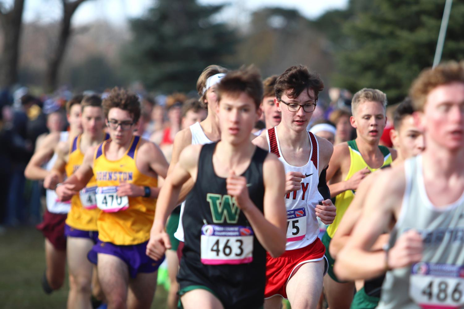 Ford Washburn '23 runs during the State Cross Country Meet.