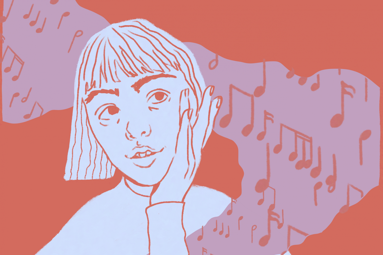 A girl is surrounded by musical notes.