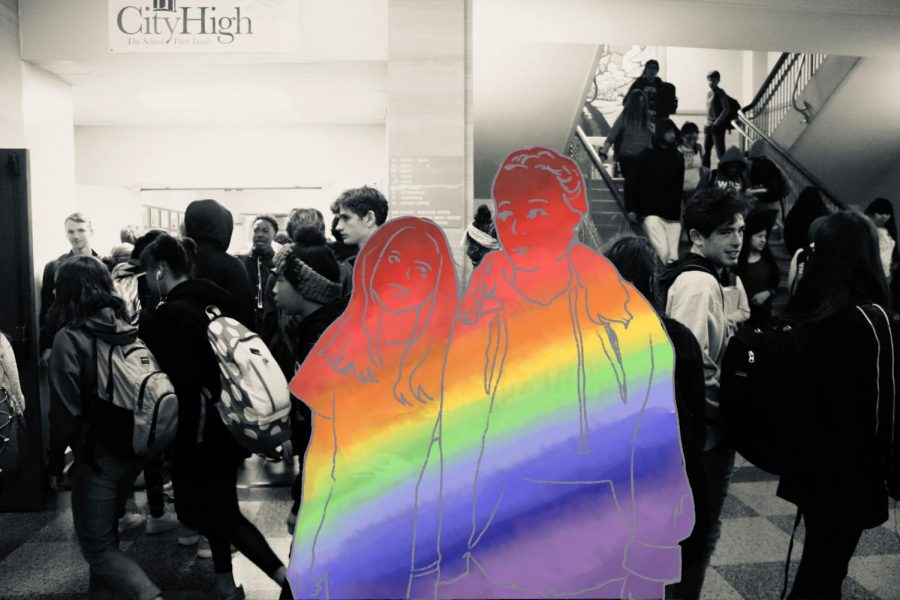 Art by Haileigh Steffen and Alison Kenaston. Dating in high school is always hard, but the experience of a queer student is far different than one of a straight student.