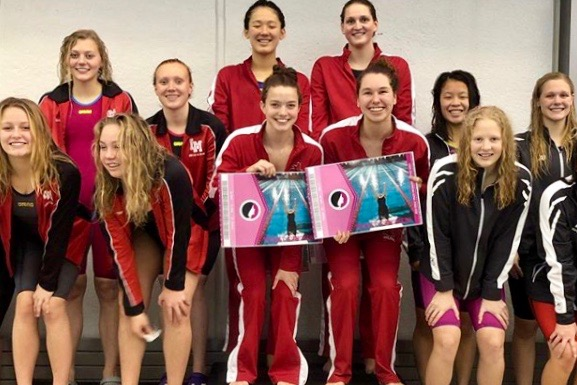 The relay of Carly Weigel '20, Olivia Masterson '20, Trinity Sadecky '20 and Rika Yahashiri '21 won the 200 medley relay at Regionals at Linn-Mar on Saturday.