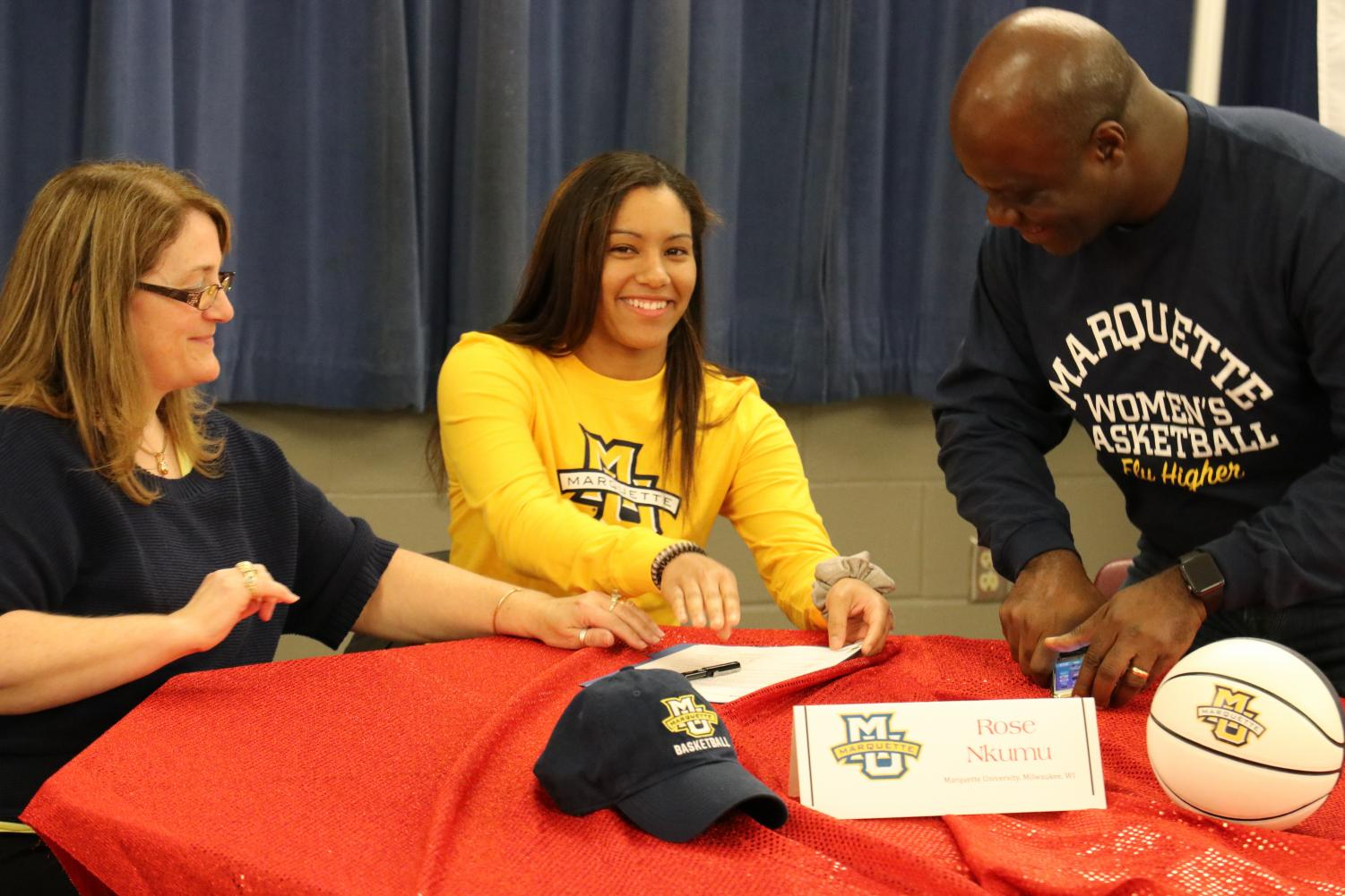 Rose Nkumu '20 signed a Letter of Intent to Marquette University to play basketball.