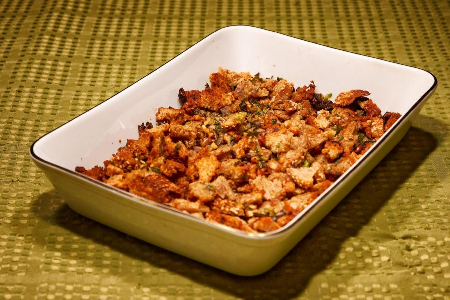 Stuffing seasoned with sage and parsley. Made by Jesse Hausknecht-Brown and Amelia Lang-Fallon
