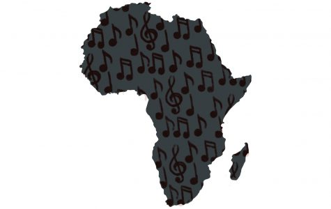 Music in-placed inside the shape of Africa to show that musical sounds and talents that come out of the continent.