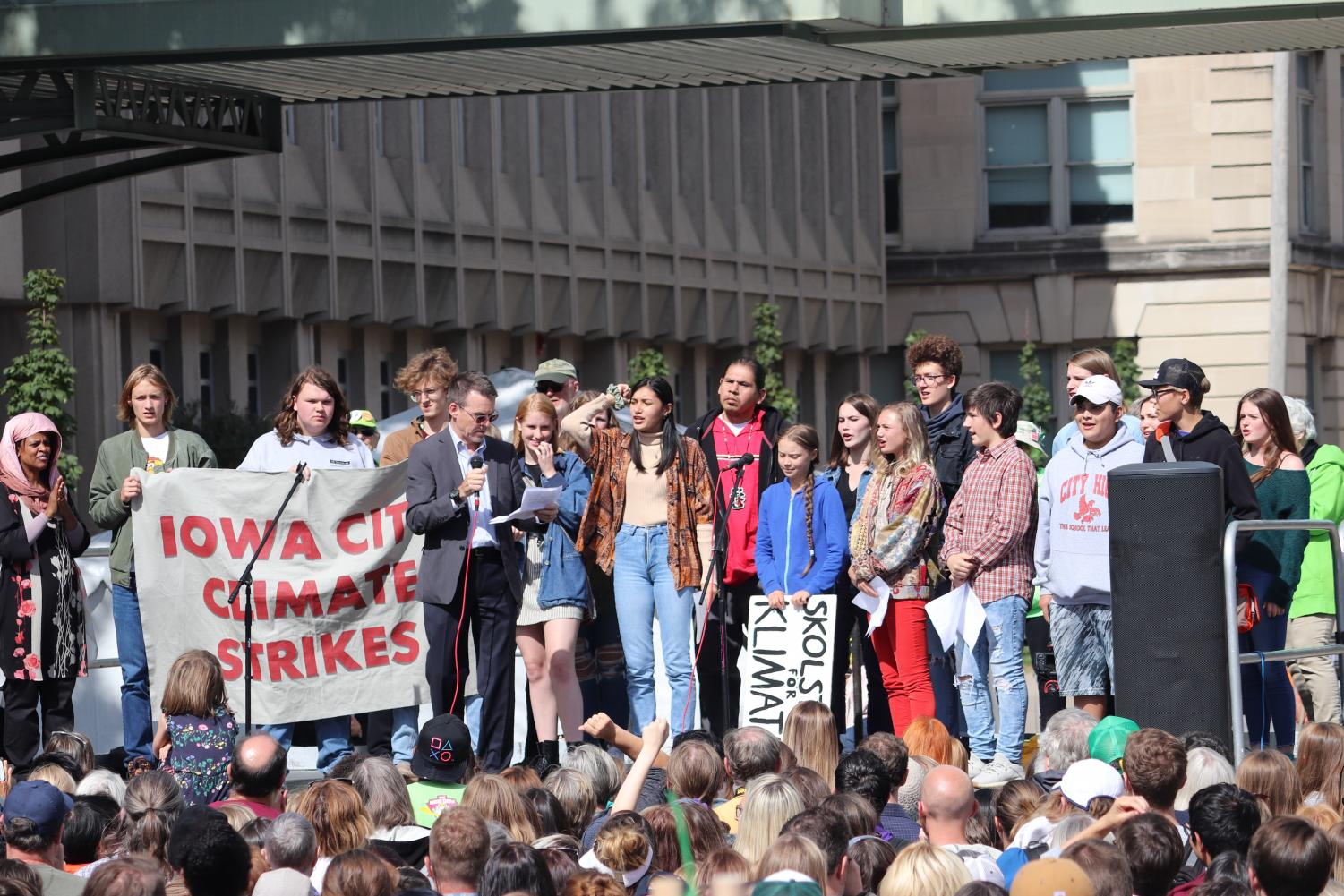 Students at Greta Thunberg protest in October 2019.