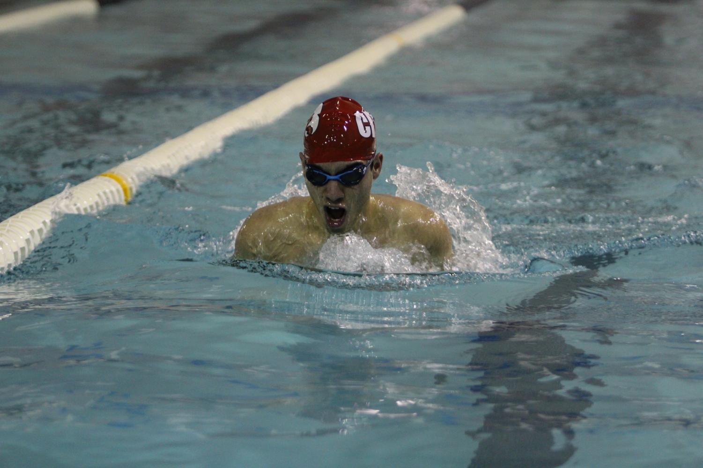 Daniel Marchini '21 swimming the 100 yard breaststroke in a dual meet against Cedar Rapids Washington.