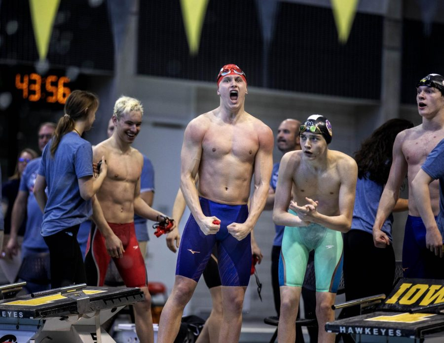 City+boys+IM+Relay+team+celebrates+after+winning+the+state+championship+and+breaking+the+previous+state+record.+