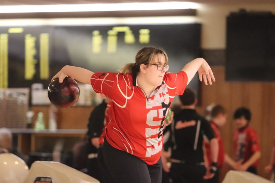 Carlie Prymek '21 bowls with the Varsity Girls team during a meet against Western Dubuque on Thursday, December 12.