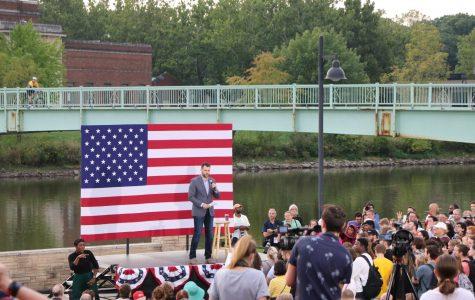 State senator Zach Wahls  speaks at an Elizabeth Warren rally in fall of 2019.