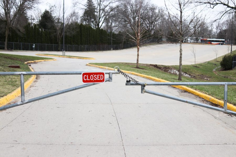 City's high lower lot displays a closed sign due to the school closure caused by COVID-19.