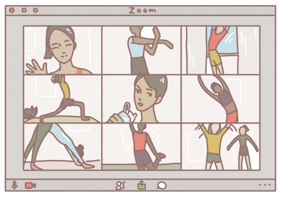 This art represents athletes working out at home while being connected through Zoom.