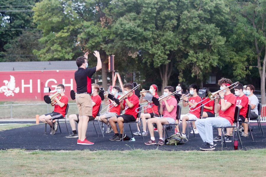 A small pep-band played during Friday night's game.