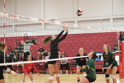 The City High girls varsity volleyball team played against Dubuque Hempstead on Saturday, September 5th.