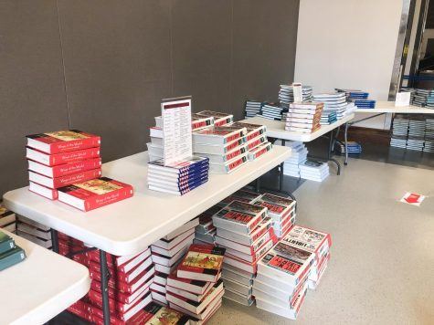 The books on the tables were sorted by subject.