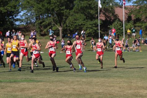 The start of the varsity boys race, about 200 meters in. City on the outside starting box.