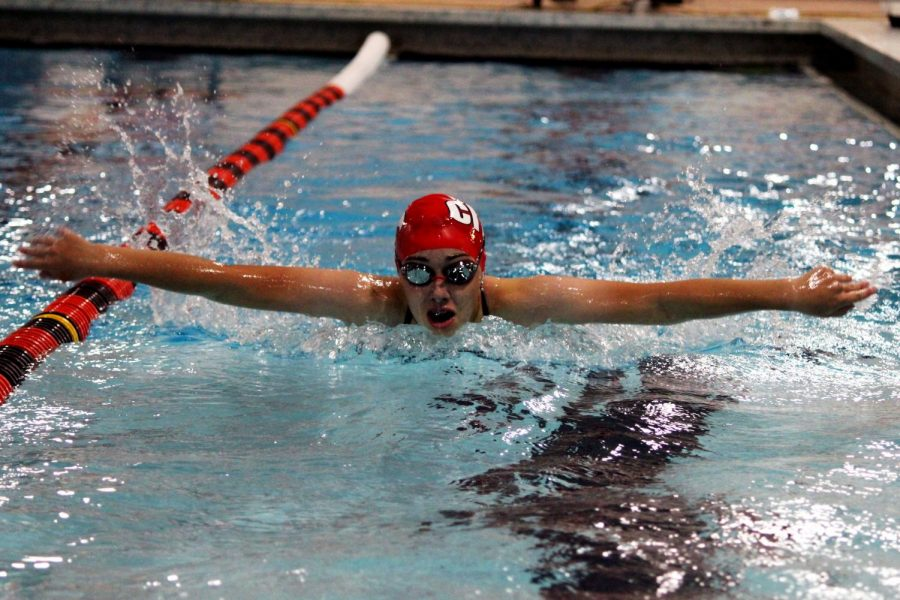 Avery Loftus '24 swims the 100 butterfly in a dual meet against Waterloo