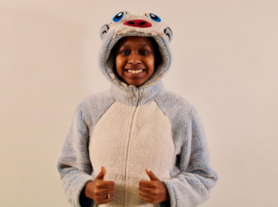 Maha Mohamed 22' dressed up in onesie for pajama day during Spirit Week 2019.