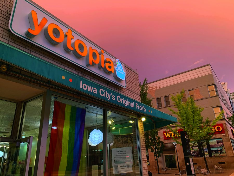 The storefront of Yotopia Frozen Yogurt, a local woman-owned business in Iowa City.