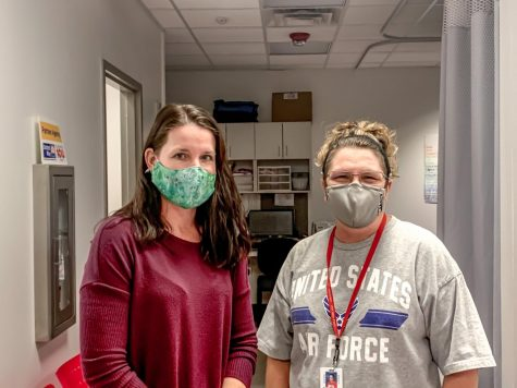 School nurse Suzi Wilkes and health office attendant Angie Dean comment on hybrid student response to Covid-19 polices.