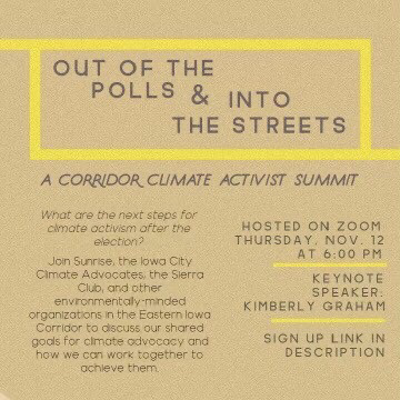 Breaking News: Corridor Climate Activist Summit Thursday, November 12