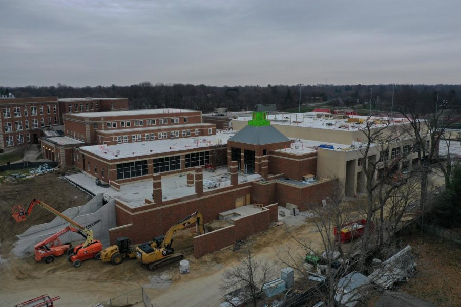 Drone flyover photo of the construction zone on December 15.