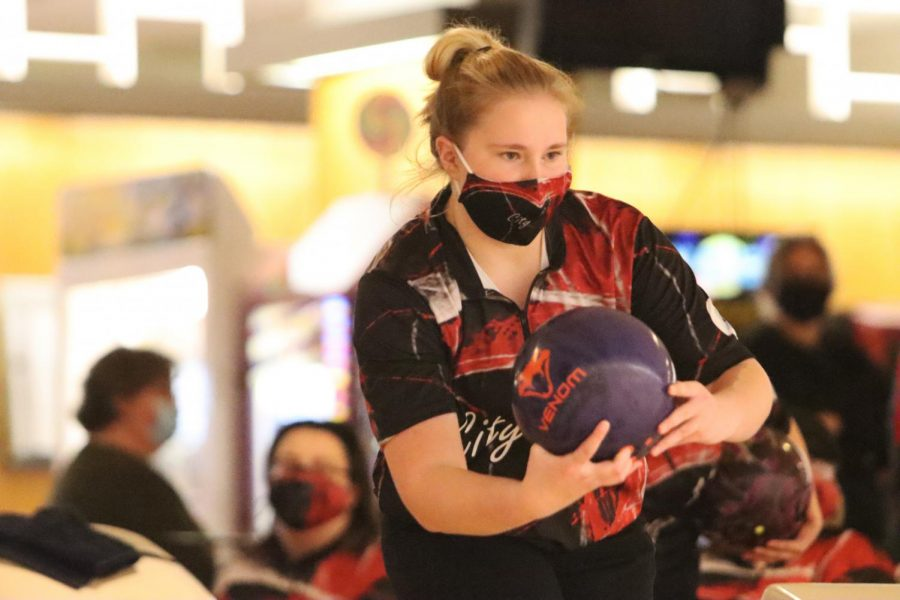 Shaylin Brown '22 bowls during City's meet against West High. City defeated West 2460-1992 on January 7.