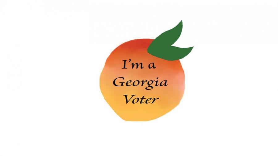 Georgia peach voting sticker.