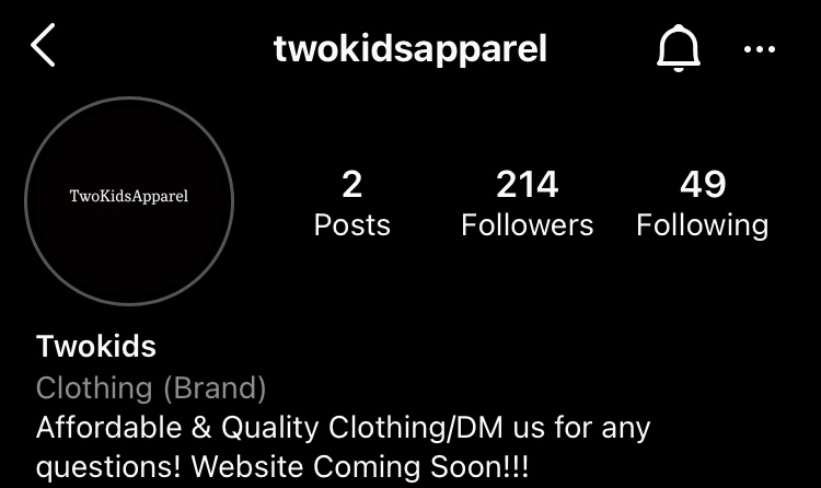Sanogo and Benton created an Instagram for their business. The brand can be found @twokidsapparel